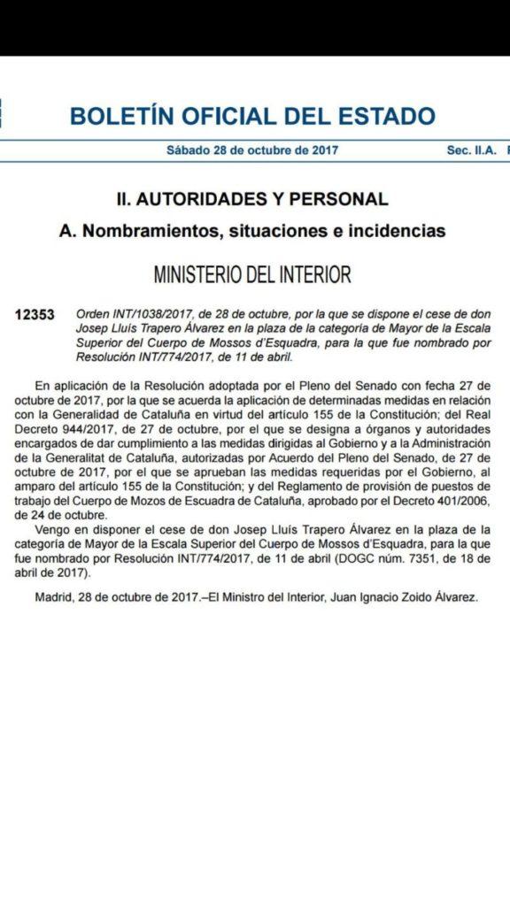 En directo el boe publica el cese de puigdemont y de trapero for Boe ministerio del interior