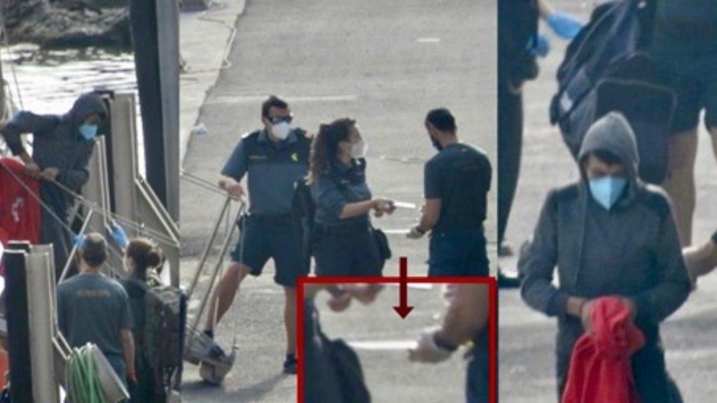 Momento de la detención del inmigrante ilegal de origen argelino en Almería.